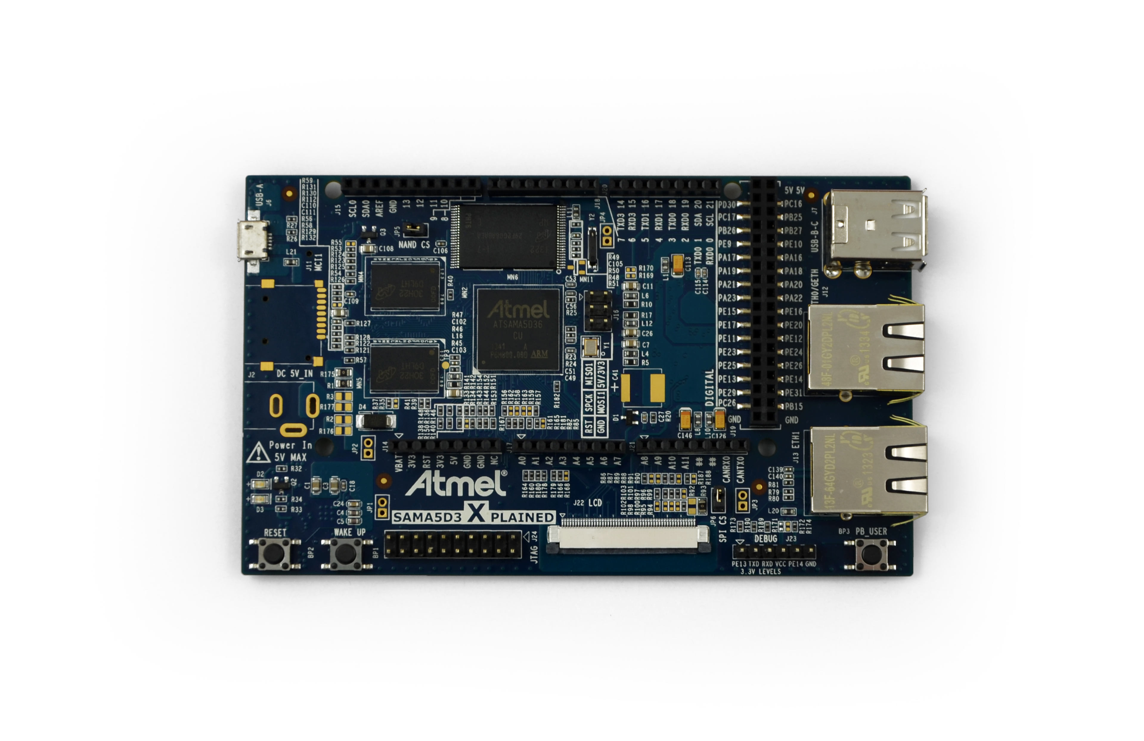 Atmel Xplained - Fast prototyping and evaluation platform based on the SAMA5D3 ARM Cortex-A5. Powerful Atmel's SAMA5D36 Cortex-A5 MPU, 2GBit DDR2 RAM, 2Gbit Flash, Dual Ethernet (GMAC + EMAC), Arduino R3-compatible header and LCD connector.