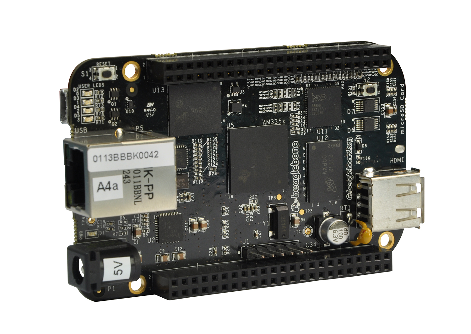 Beagleboard - The element14 BeagleBone Black is a full featured, internet enabled development platform that utilises the low cost Sitara AM3358 ARM Cortex-A8 processor from Texas Instruments and runs a variety of OS.