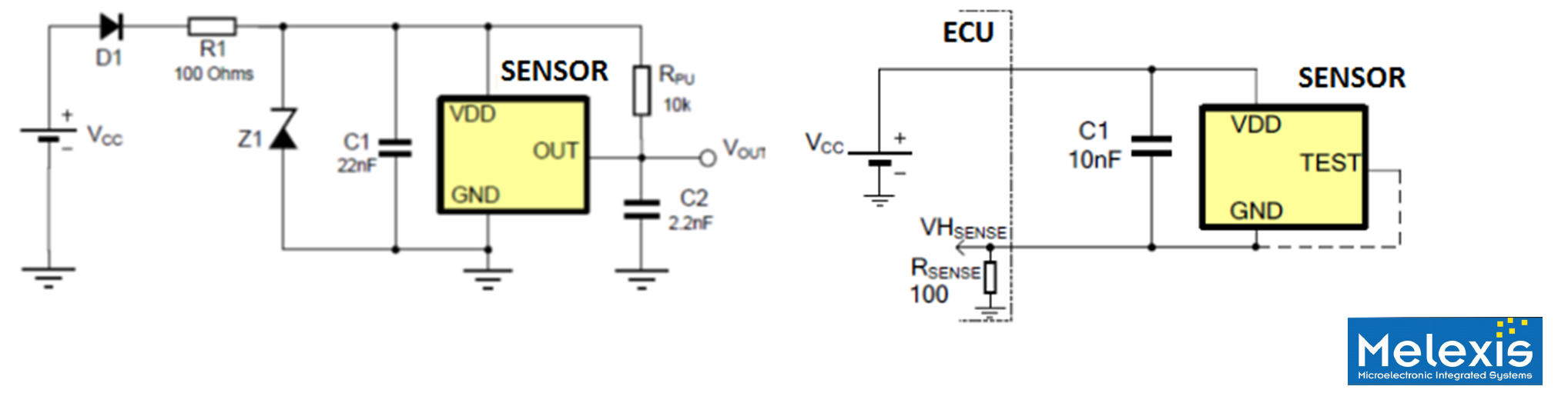 Figure 2 - comparison between 3-wire & 2-wire Hall sensor implementations