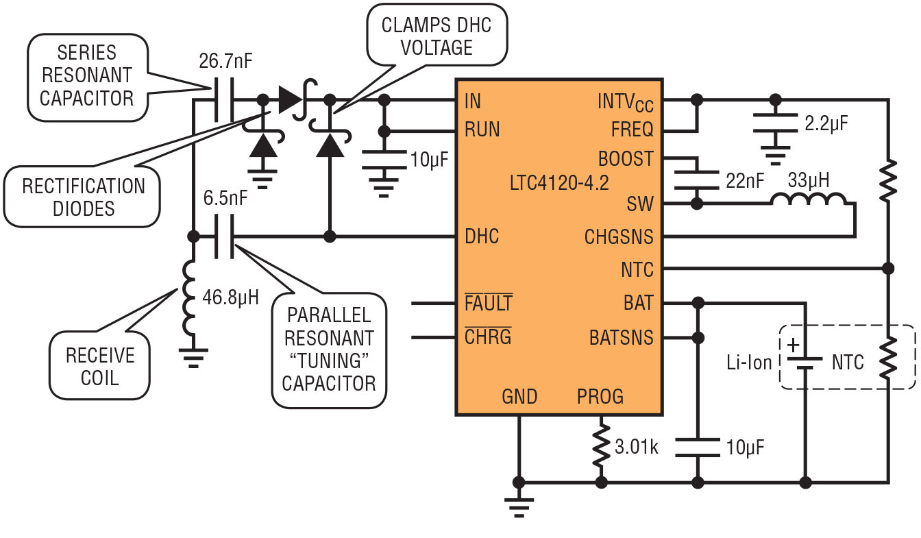 Energy Management For Portable Charger Schematic Charging Made Easy Figure 2 Ltc4120 Application Illustrates A Complete Wireless Battery Circuit