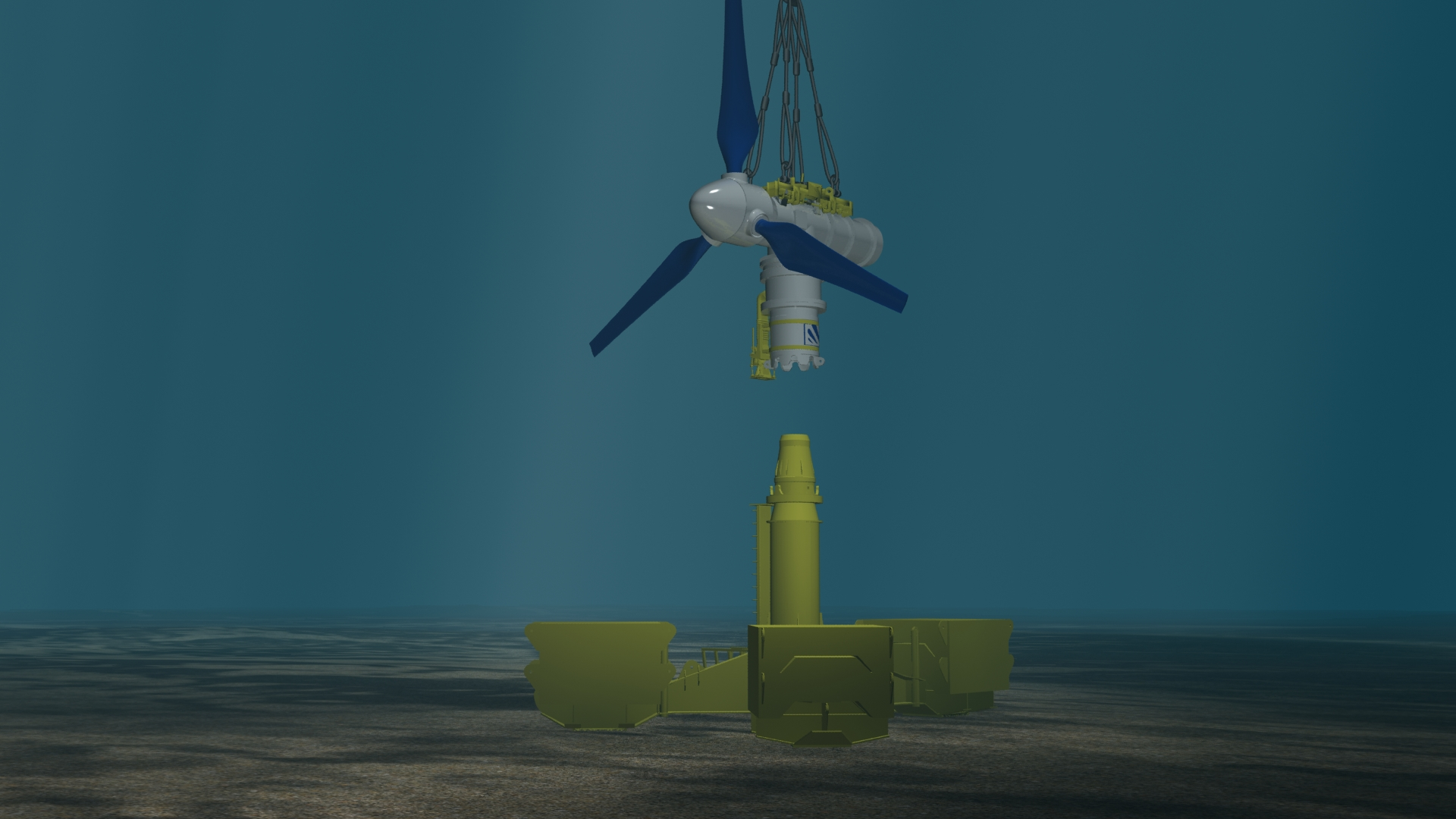 Figure 3 - The turbine section is lowered directly onto the already installed base section using underwater cameras for guidance. The whole thing is weighted down to the sea bed with large ballast. Each of the three pieces of ballast weighs 200 tonnes, as that is the limit of the transporting equipment.