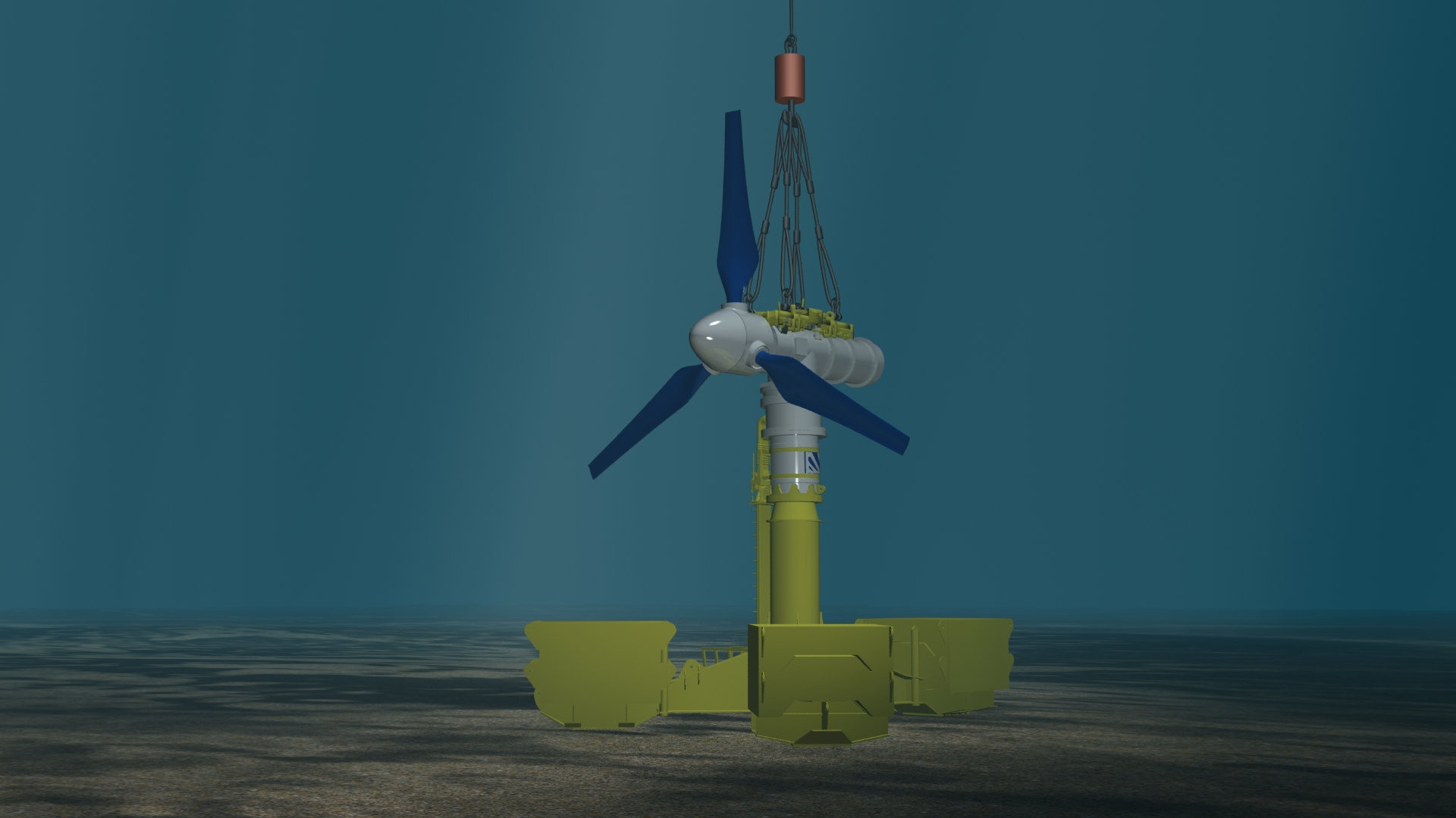 Figure 4 - The turbine rests on the base using a simple gravity-based mechanism, which requires no bolts or clamps. It's ready for operation within 60 minutes of leaving the deck of the vessel.