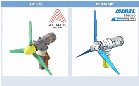 Figure 5 - The two types of turbine chosen for Phase 1A of the project are the Atlantis AR1000 and the Andritz Hydro Hammerfest HS1000.