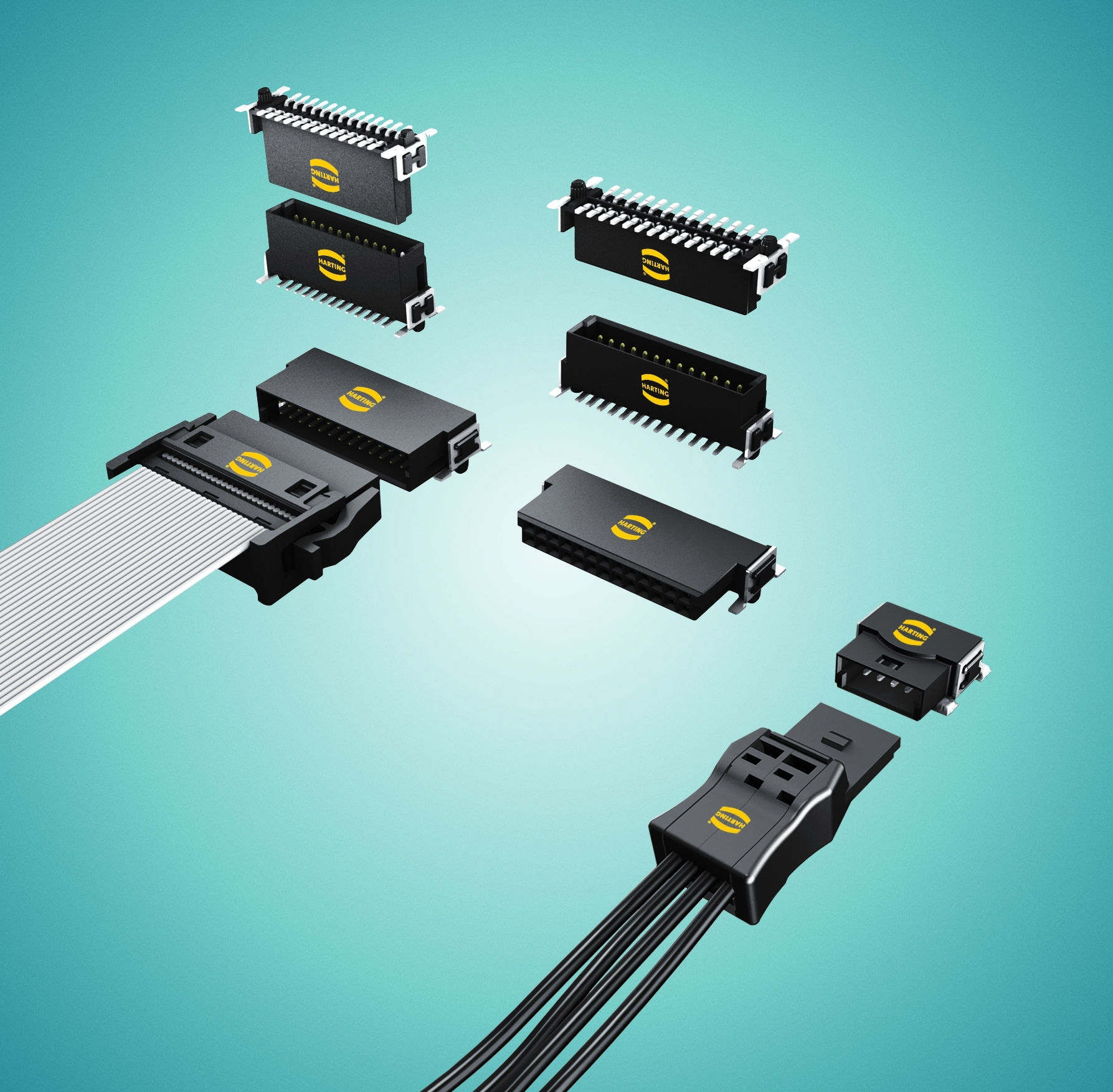 Figure 4: Harting's har-flex and har-flexicon ranges together offer a complete connectivity solution for device-to-board and board-to-board applications