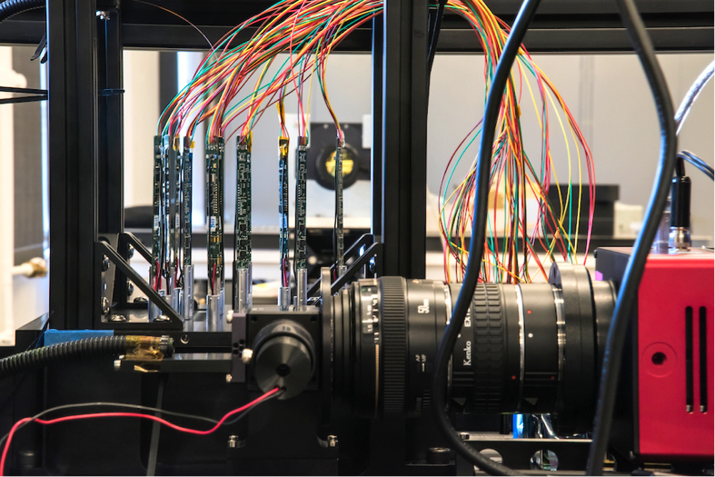 A view of the ProtoDESI setup during assembly at Berkeley Lab