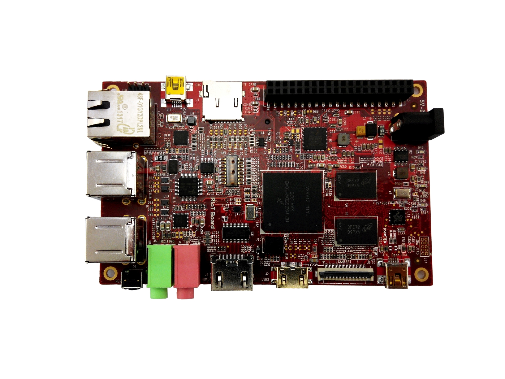 Riotboard - Revolutionising the Internet of Things. An open source development platform ideal for Android and GNU/Linux development. Low-cost, fully functional Single Board Computer. i.MX 6Solo ARM Cortex-A9 processor at 1GHz, 1GB DDR3 RAM at 800MHz, 4GB EMMC Flash, Ideal for Arduino and GNU/Linux development.