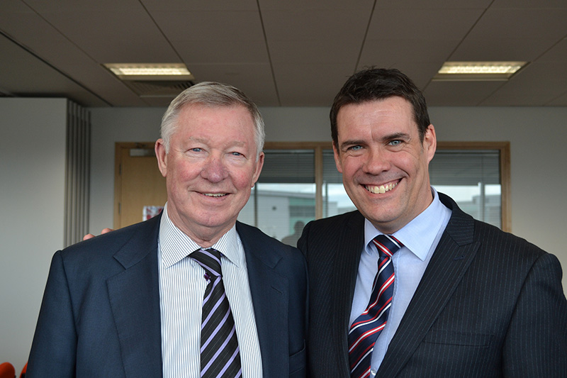 •	Ray Fletcher with Sir Alex Ferguson at the University of Sheffield Advanced Manufacturing Research Centre