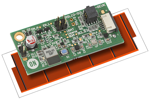 The RSL10 Solar Cell Multi-Sensor Platform with attached solar panel and ready to transmit sensor data over Bluetooth Low Energy (BLE)