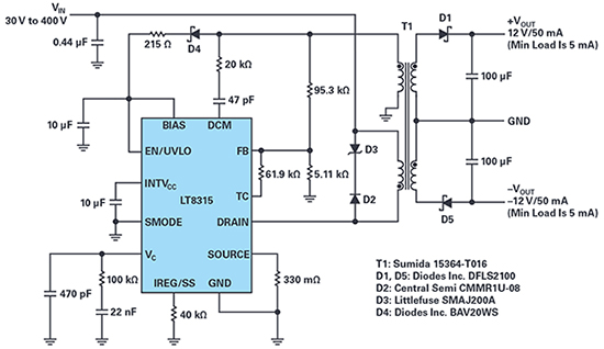 Figure 1. A complete ±12V/50mA isolated flyback converter for a wide input range, 30V to 400V