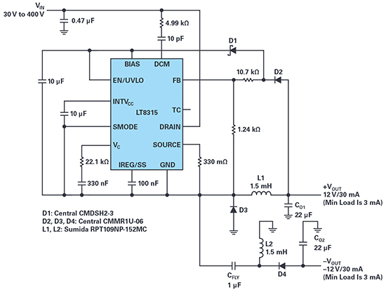 Figure 3. Schematic of a non-isolated dual inductor buck converter using a single LT8315 IC: 30V to 400V input to ±12V outputs at 30mA each