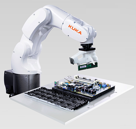 Figure 6. Compact industrial robots such as the KUKA Agilus KR 3 are designed with safety as a major  consideration and can safely share workspace and collaborate with human operators if industry standards are followed during setup. (Image source: Kuka Robotics)