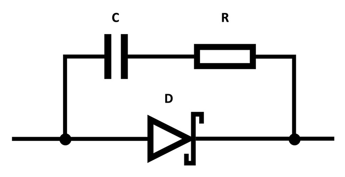 Figure 5. The capacitor in the snubber circuit can be swapped out for a metal film type, or a larger resistance can be tried. (Image source: TRACO)