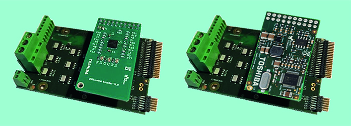 The Differential Encoder (left) and Resolver Encoder (right) fit to the Power Boards and simplify the  integration of such sensors with the  Servo Drive RM platform