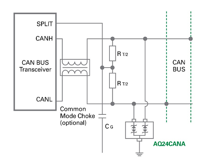 left: Figure 5. ESD Protection of a CAN bus transceiver using an AEC-Q101 qualified Littelfuse AQ3400 diode array. (Source: Littelfuse)