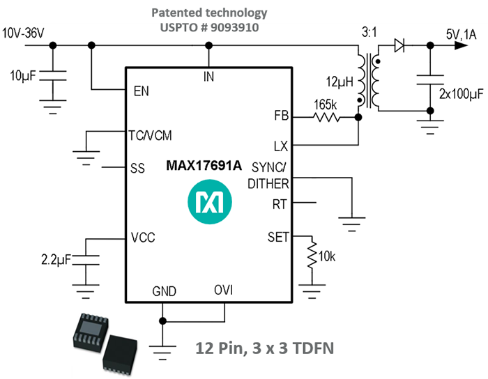 No-opto flyback circuit achieving new output voltage regulation benchmark. below: Figure 10. Highly integrated no-opto flyback solution Opposite: Figure 11. MAX17690/91 output voltage regulation. A new benchmark