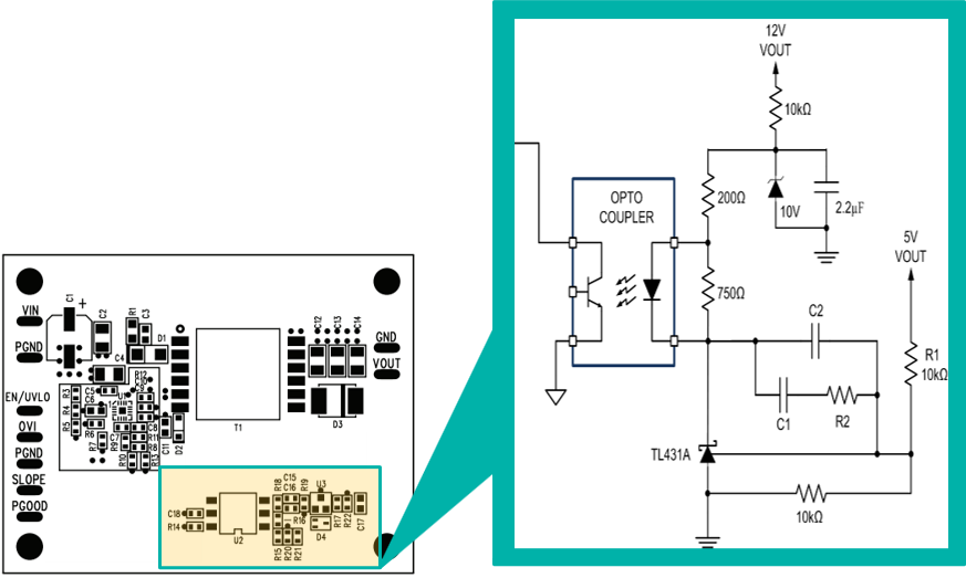 Figure 5. Traditional feedback circuit using optocoupler, error  amplifier, and a voltage reference