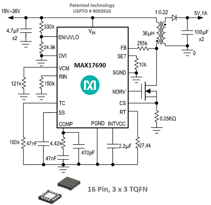 No-opto flyback circuit achieving new output voltage regulation benchmark.