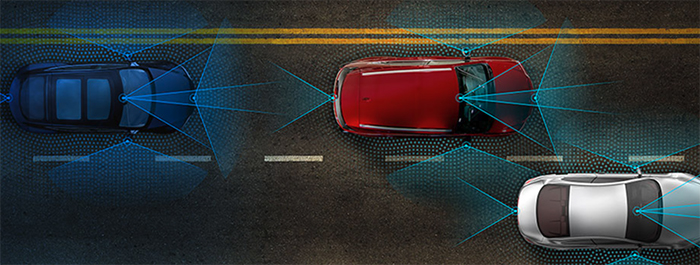 Figure 2.  Cameras, radar, and LiDAR together provide a 360° field of vision around vehicles to ensure the safety of those both inside and outside. (Image source: Analog Devices)