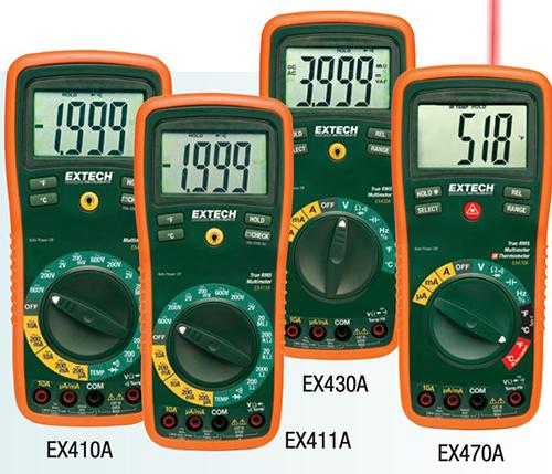 Figure 1 - The Extech 400 series of professional-grade handheld DMMs (source Extech)