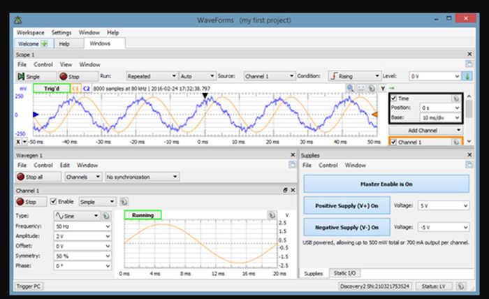 Figure 3 - An example of the Waveforms application running with an oscilloscope, waveform generator, and power supply functions running (source Digilent)