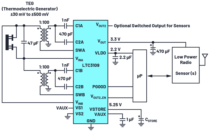 Figure 2. An LTC3109 typical  application schematic