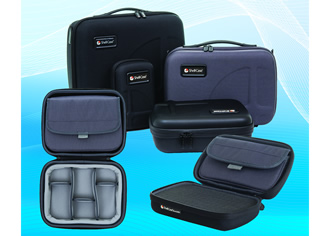 Electronics carry cases feature coated thermoformed shells