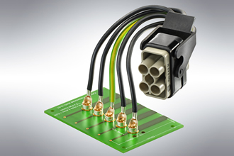 Connectors make PCB connection to high-current conductors easy