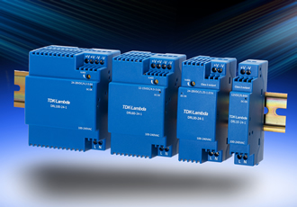 Low profile DIN-rail power supplies have high efficiencies