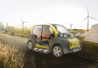 Lightweight electric car features innovative battery replacement system