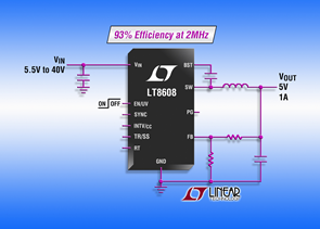 Switching regulator delivers 93% efficiency at 2MHz
