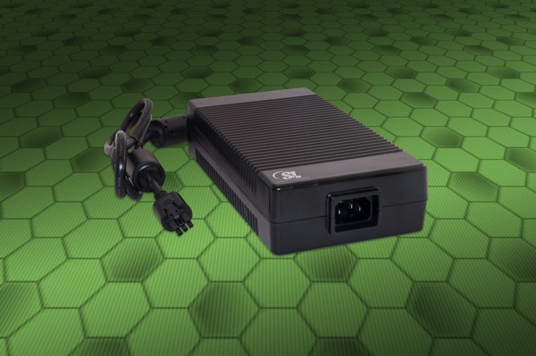 External power supply complies to Level VI+