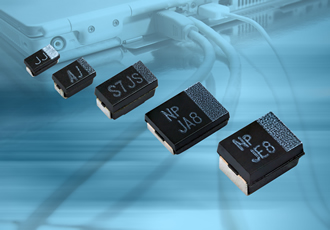 Polymer tantalum chip capacitors offered in D & V case sizes