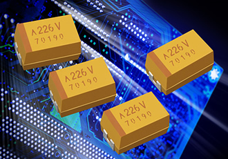 Rugged electrolytic chip capacitors deliver low ESR values
