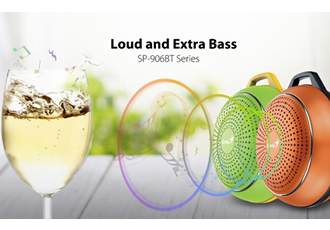 Portable Bluetooth speaker features powerful bass audio