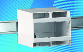 High top DIN rail enclosures available with open or closed front