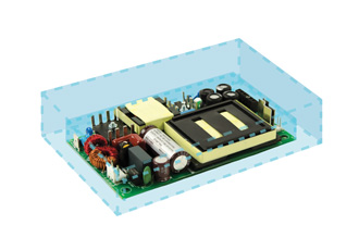 High density AC/DC power supplies housed in low profile packages