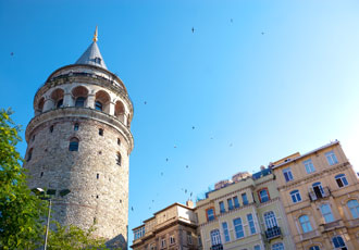 LED lighting illuminated the top of the Galata Tower