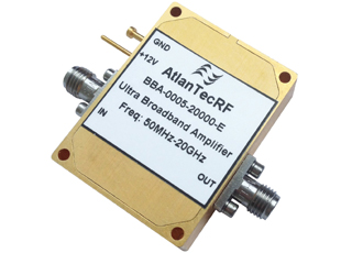 Broadband amplifier covers 50MHz–20GHz frequency range