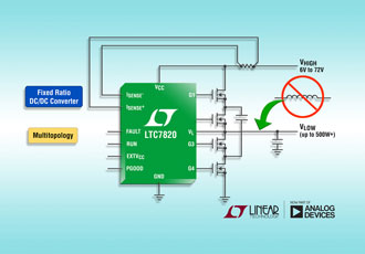 72V fixed-ratio DC/DC controller eliminates power inductor