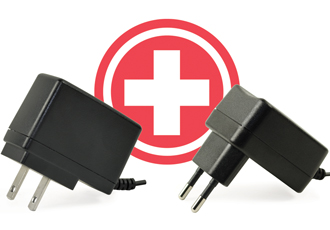 Wall plug power adapters comply with IEC 60601-1 4th edition
