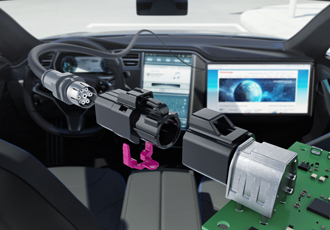Datalink connection system for automotive electronics