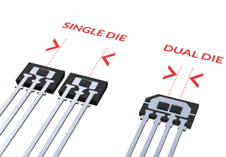 Dual die latch and switch sensor delivers accurate measurement