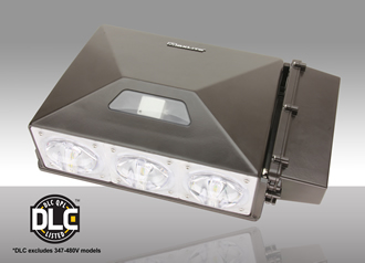 Architectural LED wall pack has external battery backup