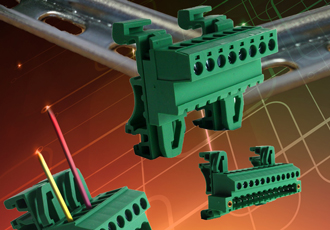 DIN-rail mounting terminal blocks enable quick connections