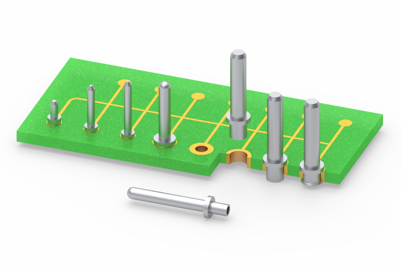 Swage mount PCB pins suit interconnect applications