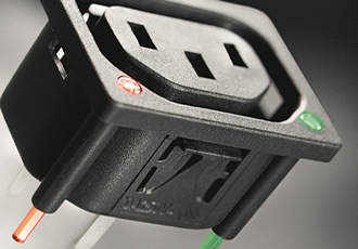 IEC outlets now available with integrated light pipes
