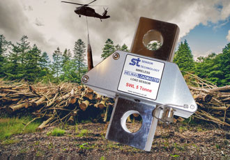 Wireless load sensor aids helicopter in extracting trees