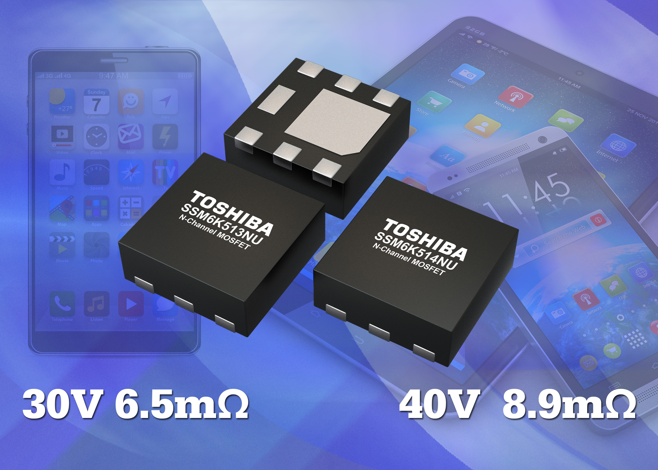 N-channel MOSFETs reduce heat dissipation by 40%