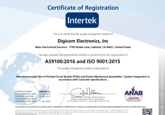 Digicom receives AS9100:2016 and ISO 9001:2015 certifications