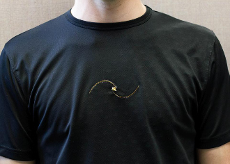 Respiratory rate sensor built into a cotton t-shirt